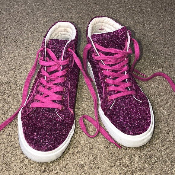 27ffc1544f Old Navy High Top Pink Sparkly Sneakers Girls 2